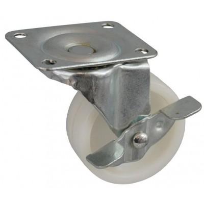 Колесо J 65 (272-057-065) с кронштейном поворотным пластик белый с тормозом