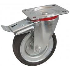 Колесо С 200 (102-009-200) с кронштейном поворотным металл/резина сборный диск с тормозом
