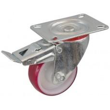 Колесо С 100 (102-026-100) с кронштейном поворотным полиамид/полиуретан с роликовым подшипником с тормозом