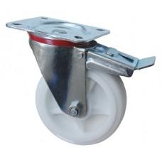 Колесо С 125 (102-040-125) с кронштейном поворотным полипропилен с тормозом