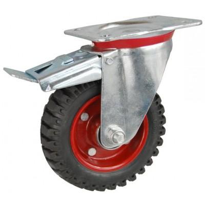 Колесо С 125 (102-200-125) с кронштейном поворотным металл/резина с шариковым подшипником с тормозом