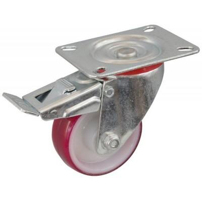 Колесо С 80 (102-024-080) с кронштейном поворотным полиамид/полиуретан с втулкой с тормозом