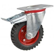 Колесо С 160 (102-200-160) с кронштейном поворотным металл/резина с шариковым подшипником с тормозом
