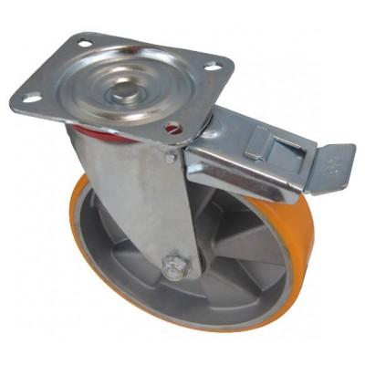 Колесо C 200 (102-245-200) с кронштейном поворотным алюминий/полиуретан с тормозом