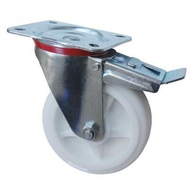 Колесо С 200 (102-040-200) с кронштейном поворотным полипропилен с тормозом