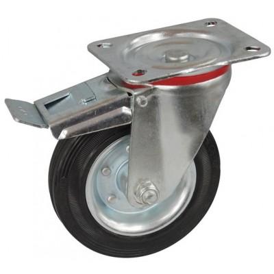 Колесо С 125 (122-010-125) с кронштейном поворотным металл/резина с тормозом