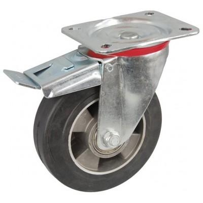 Колесо C 160 (102-250-160) с кронштейном поворотным алюминий/резина с тормозом
