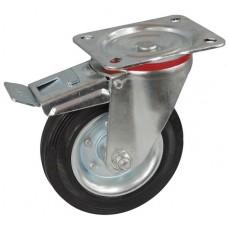 Колесо С 160 (102-010-160) с кронштейном поворотным металл/резина с тормозом