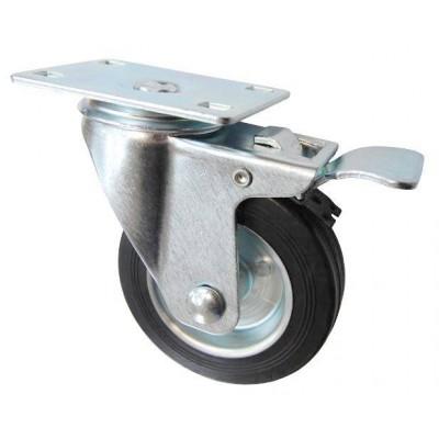 Колесо F 100 (202-010-100) с кронштейном поворотным металл/резина с тормозом