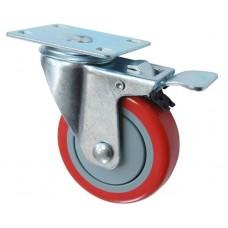 Колесо F 75 (202-061-075) с кронштейном поворотным пластик/полиуретан с тормозом