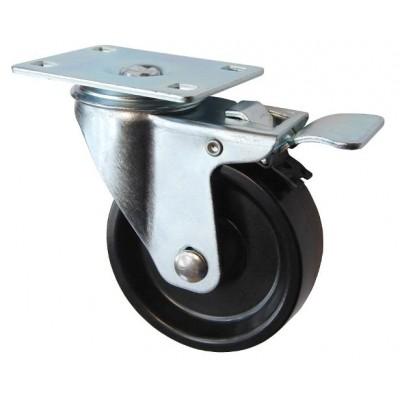 Колесо F 80 (202-049-080) с кронштейном поворотным бакелит с тормозом