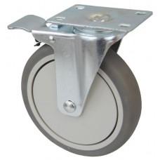 Колесо F 125 (202-063-125) с кронштейном поворотным пластик/TPR с тормозом