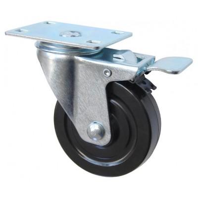 Колесо F 125 (202-073-125) с кронштейном поворотным резина с тормозом