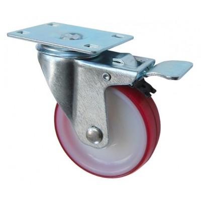 Колесо F 80 (202-027-080) с кронштейном поворотным полиамид/полиуретан с роликовым подшипником с тормозом