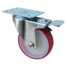 Колесо F 100 (202-027-100) с кронштейном поворотным полиамид/полиуретан с роликовым подшипником с тормозом