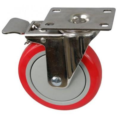 Колесо FI 100 (212-061-100) с кронштейном поворотным пластик/полиуретан с тормозом