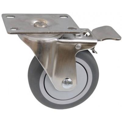 Колесо FI 125 (212-063-125) с кронштейном поворотным пластик/TPR с тормозом