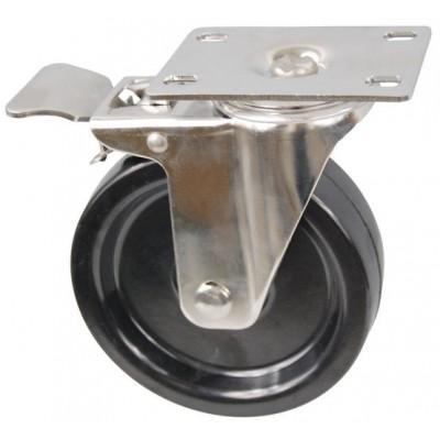 Колесо FI 100 (212-049-100) с кронштейном поворотным бакелит с тормозом