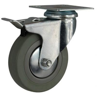 Колесо G 75 (252-100-075) с кронштейном поворотным пластик/резина с тормозом