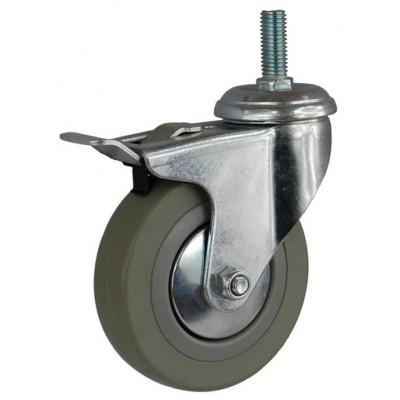 Колесо G 120 (265-100-120) с кронштейном поворотным пластик/резина болт М12 с тормозом