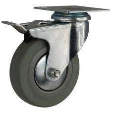 Колесо G 120 (252-100-120) с кронштейном поворотным пластик/резина с тормозом