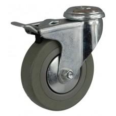 Колесо G 75 (257-100-075) с кронштейном поворотным пластик/резина с отверстием Ф10,5 с тормозом