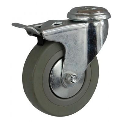 Колесо G 100 (257-100-100) с кронштейном поворотным пластик/резина с отверстием Ф12,5 с тормозом
