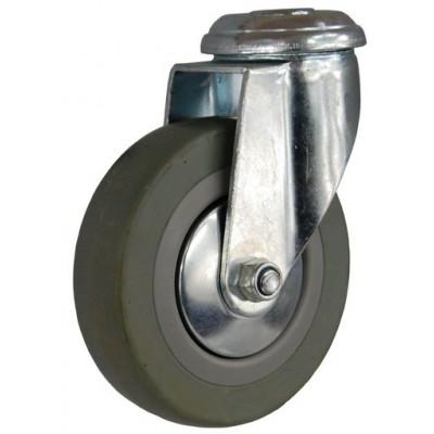 Колесо G 75 (256-100-075) с кронштейном поворотным пластик/резина с отверстием Ф10,5