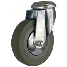 Колесо G 100 (256-100-100) с кронштейном поворотным пластик/резина с отверстием Ф12,5