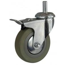 Колесо G 50 (261-100-050) с кронштейном поворотным пластик/резина с осью fi.10 с тормозом