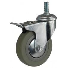 Колесо G 100 (265-100-100) с кронштейном поворотным пластик/резина болт М12 с тормозом