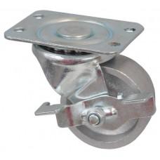 Колесо K 75 (292-095-075) с кронштейном поворотным чугун с тормозом