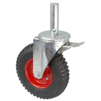 Колесо R 200 (190-200-200) с кронштейном поворотным металл/резина с шариковым подшипником с осью fi.27