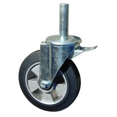Колесо R 200 (190-250-200) с кронштейном поворотным алюминий/резина с осью fi.27