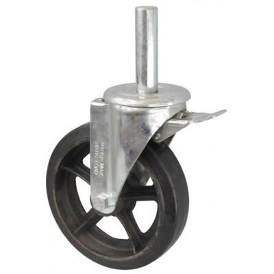 Колесо R 150 (190-240-150) с кронштейном поворотным чугун/резина с осью fi.27