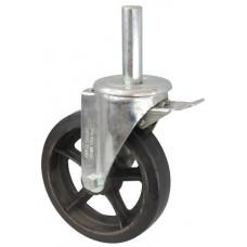 Колесо R 200 (190-240-200) с кронштейном поворотным чугун/резина с осью fi.27