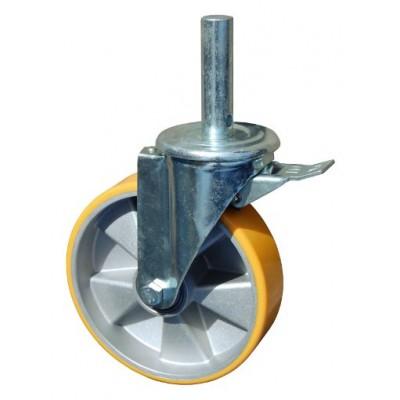 Колесо R 200 (190-245-200) с кронштейном поворотным алюминий/полиуретан с осью fi.27