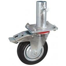 Колесо RA 160 (002-001-160R1) с кронштейном поворотным металл/резина с креплением под круглый профиль с фиксирующими болтами с тормозом
