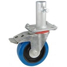 Колесо RA 200 (002-065-200R2) с кронштейном поворотным эластик с креплением под круглый профиль с фиксирующими болтами с тормозом