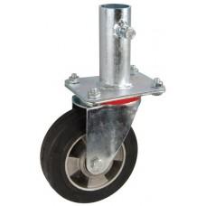 Колесо RA 160 (001-250-160R1) с кронштейном поворотным алюминий/резина с крепление под круглый профиль с фиксирующими болтами