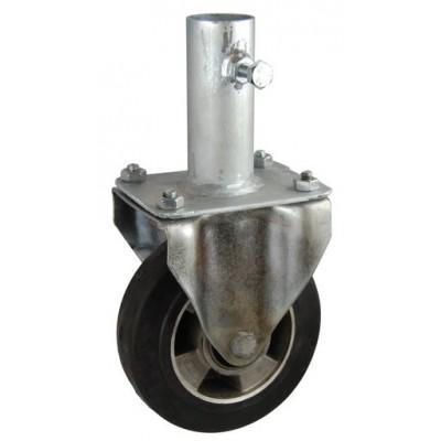 Колесо RA 160 (003-250-160R2) с кронштейном алюминий/резина с креплением под круглый профиль с фиксирующими болтами