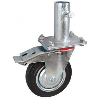 Колесо RA 200 (002-001-200R2) с кронштейном поворотным металл/резина с креплением под круглый профиль с фиксирующими болтами с тормозом