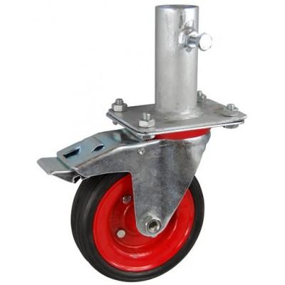 Колесо RA 200 (002-009-200R1) с кронштейном поворотным металл/резина сборный диск с креплением под круглый профиль с фиксирующими болтами с тормозом