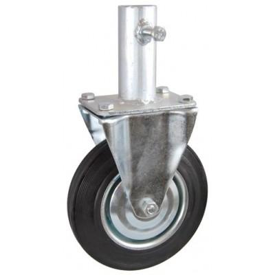 Колесо RA 200 (003-001-200R1) с кронштейном металл/резина с креплением под круглый профиль с фиксирующими болтами