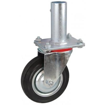 Колесо RA 200 (001-001-200R1) с кронштейном поворотным металл/резина с креплением под круглый профиль с фиксирующими болтами