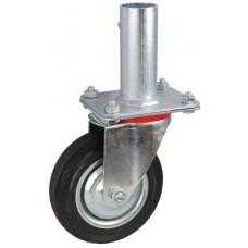 Колесо RA 200 (001-001-200R2) с кронштейном поворотным металл/резина с креплением под круглый профиль с фиксирующими болтами
