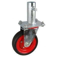 Колесо RA 200 (001-009-200R1) с кронштейном поворотным металл/резина сборный диск с креплением под круглый профиль с фиксирующими болтами