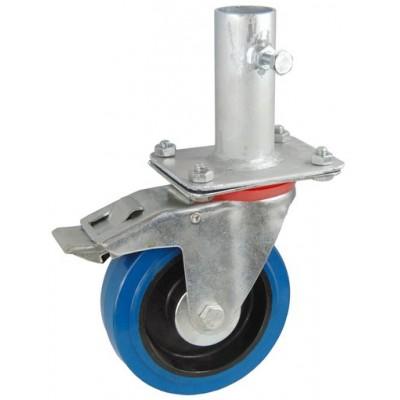 Колесо RA 200 (002-065-200R1) с кронштейном поворотным эластик с креплением под круглый профиль с фиксирующими болтами с тормозом