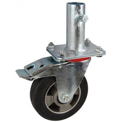 Колесо RA 200 (002-250-200R2) с кронштейном поворотным алюминий/резина с креплением под круглый профиль с фиксирующими болтами с тормозом