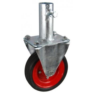 Колесо RA 200 (003-009-200R2) с кронштейном металл/резина сборный диск с креплением под круглый профиль с фиксирующими болтами